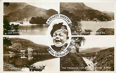 p1105 The Trossachs, Scotland postcard RP posted 1950 stamp