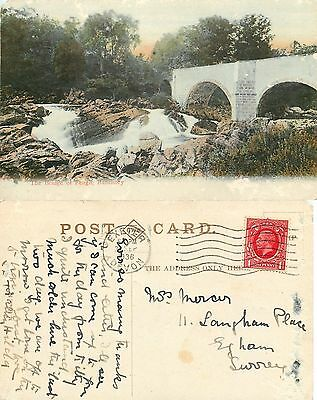 p1130 Bridge of Feugh, Banchory, Scotland postcard posted 1936 stamp