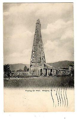 NY - ALLEGANY NEW YORK 1907 Postcard FLOWING OIL WELL