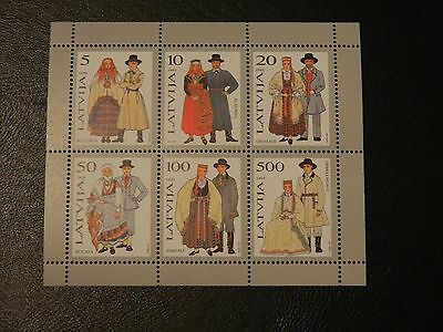Latvia Stamp SG MS 376 MNH 1993 Traditional Costumes 6 different Values in MS.