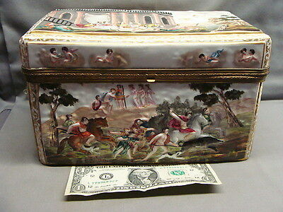 Incredible Antique 19th Century Capodimonte Hand Painted Porcelain Hinged Box