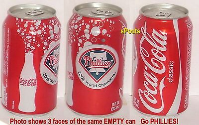 2008 Coca-Cola Coke Philadelphia Phillies Baseball World Series Sport Soda Can