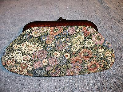 33 East Imports Vintage Floral Tapestry Clutch Tortoise Lucite Kiss Lock Italy