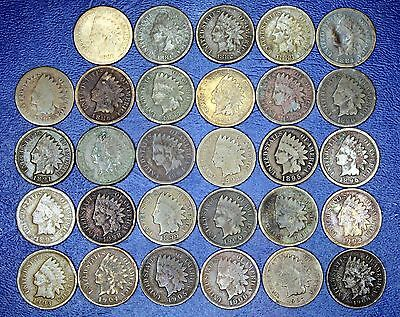 Starter Set of indian Cents 1879-1909 Inclusive. All Years 30 Different Dates.