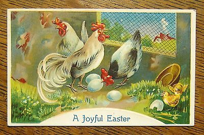 Roosters Hen Chicks EASTER Chicken House--Antique Vintage 1910s Emb Postcard!