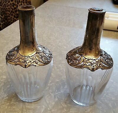 Vintage Estate Pair of Christofle O Gallia Silver & Crystal Decanters ~ 8 3/4""