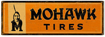 Reproduction Aged Mohawk Tires Motor Oil And Gas Station Metal Sign