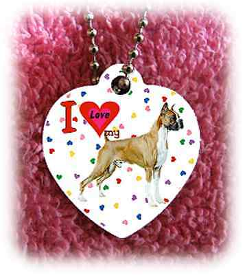 """Boxer Dog heart necklace 24"""" chain background of hearts"""