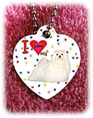 "Maltese Dog heart necklace 24"" chain background of hearts"