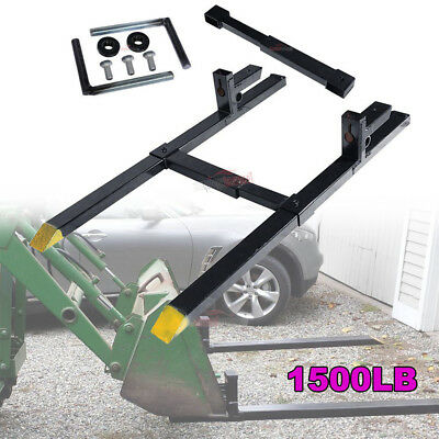 1500lb Clamp on Heavy Duty Pallet Forks and adjustable Stabilizer Bar for Loader