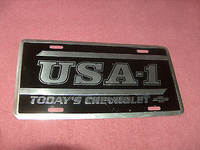 Genuine Chevrolet Black And Silver Chevy Front Licence Plate - U.s.a. # 1