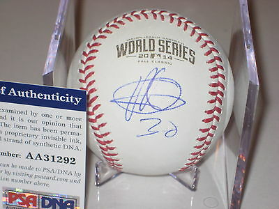 YORDANO VENTURA (Royals) signed Official 2014 WORLD SERIES Baseball w/ PSA COA