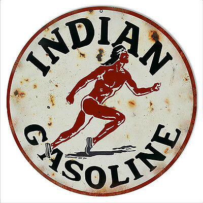 Reproduction Indian Gasoline Motor Oil Metal Sign 14 Round