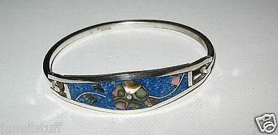 Vintage Taxco Mexico Sterling Silver Floral Inlay Bangle Bracelet