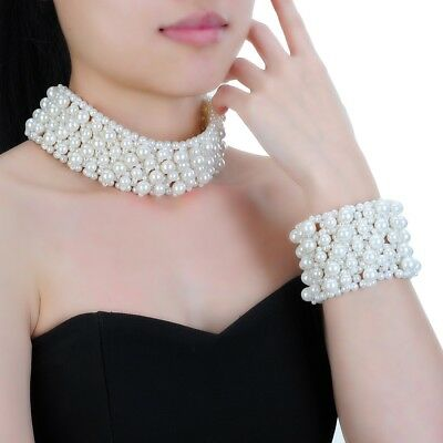 Fashion Jewelry White Pearl Chain Chunky Choker Statement Bib Necklace Bracelet