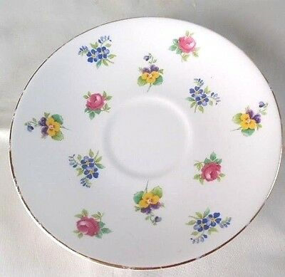 """Crown Staffordshire """"Floral Bouquet"""" Smooth Gold Rimmed Saucer"""