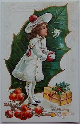 Vintage Embossed Antique Christmas Postcard Young Girl White Coat Snowball Gift
