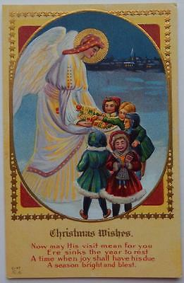 Vintage Embossed Antique Christmas Wishes Postcard White Angel Toys Children
