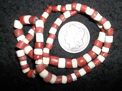 Beautiful Rare Old Antique Strand Red And White Glass Trade Bead Necklace 2Feet