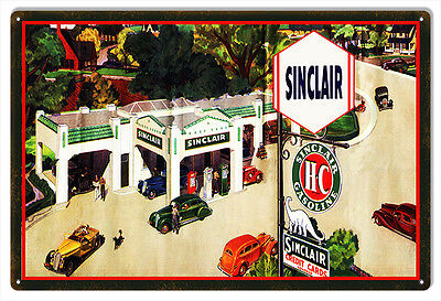 """Aged Looking Sinclair HC Motor Oil Metal Sign 12""""x18"""""""
