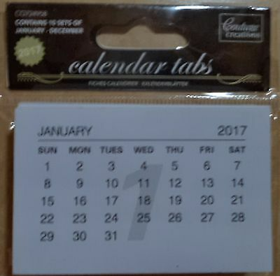 CALENDAR TABS WHITE x 1 pack of 10 calendars 12 months  for 2017    FREE POST