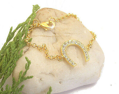 Horse & Western Jewellery Jewelry Ladies Crystal Horseshoe  Bracelet Gold