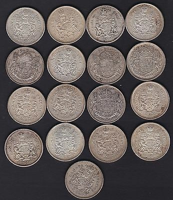 Canada, 17 Round silver fifty cents coins, all.80% silver 1945 to 1966