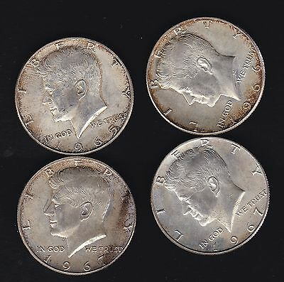 USA, 4 1967 etc silver clad fifty cent coins