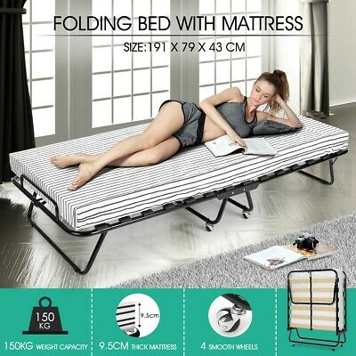 Portable Folding Bed with Mattress Camping Single Size Outdoor Indoor Stripe