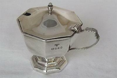 A Lovely Large Solid Sterling Silver Octagonal Shaped Mustard Pot London 1977.