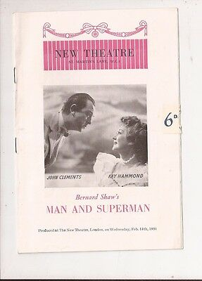 New Theatre Programme from 1951 'Man and Superman'