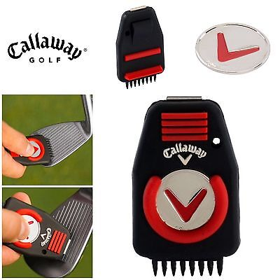 Callaway Cnc Deluxe Golf Club Groove Cleaner Tool Brush + Ball Marker