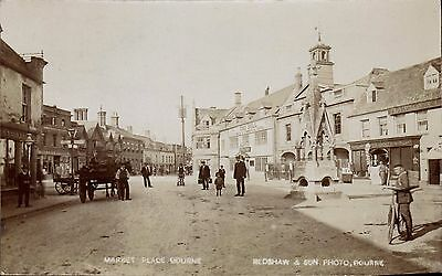 Bourne. Market Place by Redshaw & Son, Bourne.
