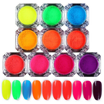 2g BORN PRETTY Neon Phosphor Nail Art Pigment Powder Glitter Manicure Decor DIY