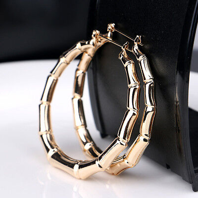 1 Pair Fashion Punk Gold Tone Bamboo Big Hoop Large Alloy Circle Earrings