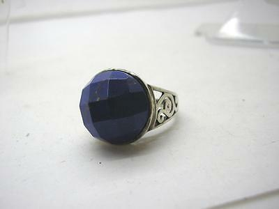 Vintage Large Sterling Silver Faceted Natural Sodalite Ring size Q