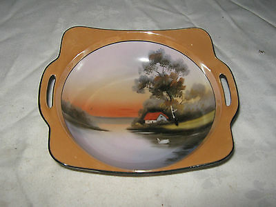 A Vintage Japanese ? Peach Lustre Ceramic Hand Painted Lake Scenery Bowl