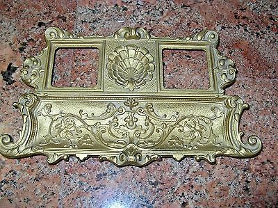 Antique Victorian Ink Well and Pen Holder Brass on Iron Detailed Shell