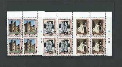 St Lucia 1982 UMM 21st B'day of Princess of Wales sg 625/7 Blocks of 4