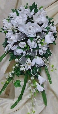 Wedding Flowers Bridal Teardrop Bouquet Roses, Freesia And Lily Of The Valley