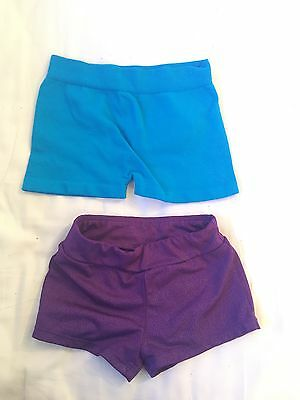 freestyle by Danskin girls gym/dance shorts size XS 4/5 Purple Shimmer VGUC