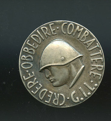 ITALY WWII Fascist Badge Youth GIL MEDAL - Mussolini - Johnson, Milano RARE F78