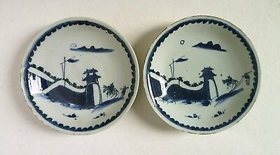 Chinese Late MING Pair of DISHES. Tianqi C17th Ko-Sometsuke Antique Blue & White