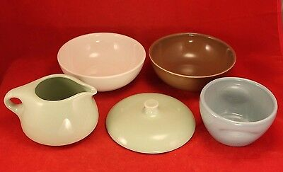 Russel Wright Iroquois Casual Set 5 Pieces - Stack Sugar, Creamer, Lid, 2 Bowls