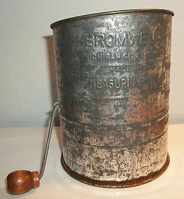 Vintage Bromwell's Measuring Flour Sifter Wood Handle