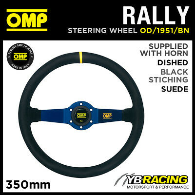 OD/1951/BN OMP RALLY SUEDE LEATHER STEERING WHEEL 350mm BLUE ANODIZED SPOKES