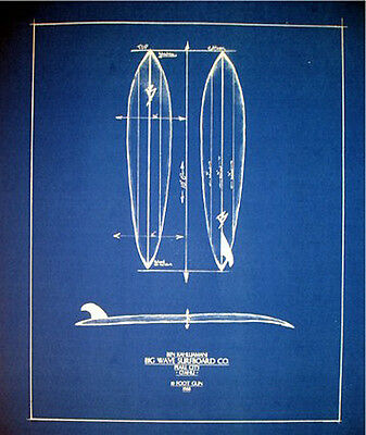 Vintage Big Wave Surfboard Plan Hawaii 1968 16x20  (183)
