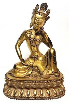 "18th Century Antique Chinese Gold Gilt Bronze Buddha Statue 8"" Qing Dynasty"