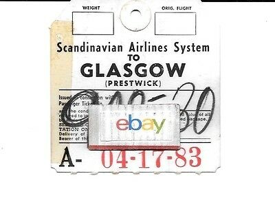 Sas Scandinavian Airlines Luggage Tag # 2 Glasgow,england # 902/30 1952
