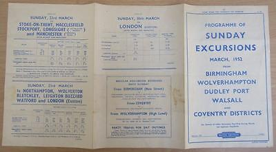 1952 Midlands Sunday Excursions Railway Timetable & Fares Double Sided Handbill